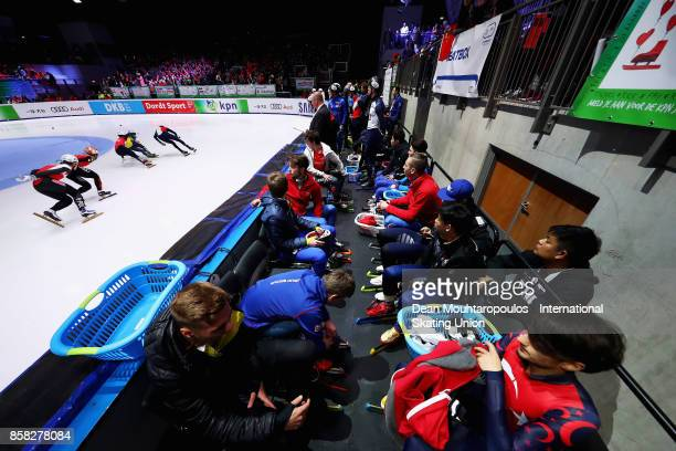 A general view of the heatbox or athletes arean before they compete in the Mens 1000m Preliminaries during the Audi ISU World Cup Short Track Speed...