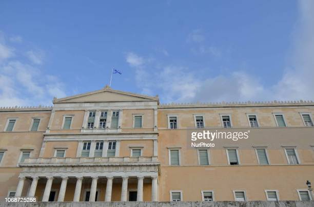 A general view of the Hellenic Parliament building as the Greek Flag flies over it in Athens Greece 5 December 2018 22% of GDP growth for the third...