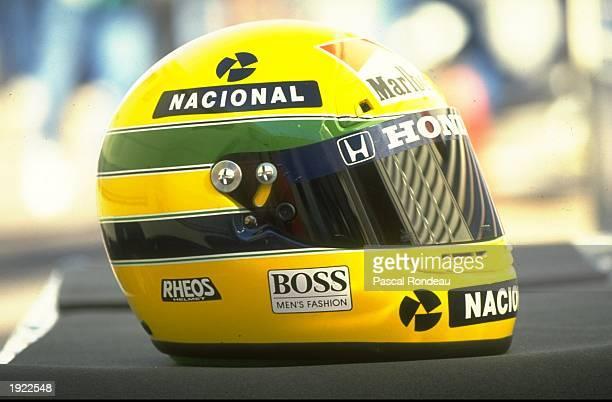 General view of the helmet belonging to McLaren Honda driver Ayrton Senna of Brazil before the US Grand Prix at the Phoenix circuit in Arizona, USA....