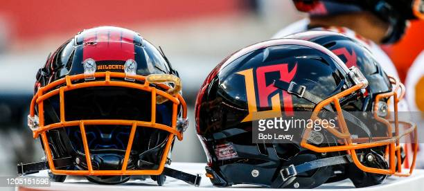 General view of the helmets of the LA Wildcats at TDECU Stadium on February 08, 2020 in Houston, Texas.
