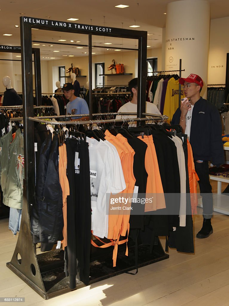General view of the Helmut Lang X Travis Scott collection at Barneys New York Beverly Hills on January 30, 2017 in Beverly Hills, California.