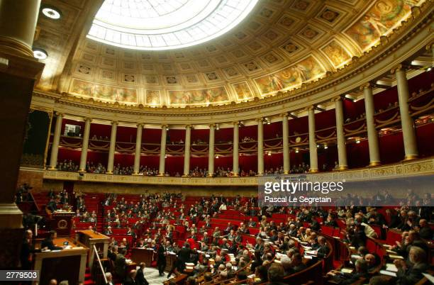 General view of the hemicycle during a weekly government questions session December 3, 2003 at the Parliament in Paris.