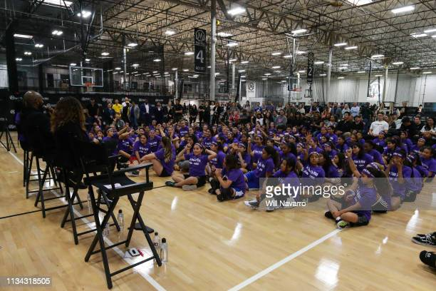 General view of the Her Time To Play basketball clinic hosted by JRNBA and WNBA with on March 28 2019 at Mamba Sports Academy in Newbury Park...