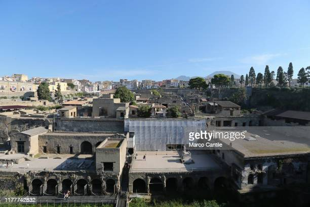 General view of the Herculaneum archaeological excavations.
