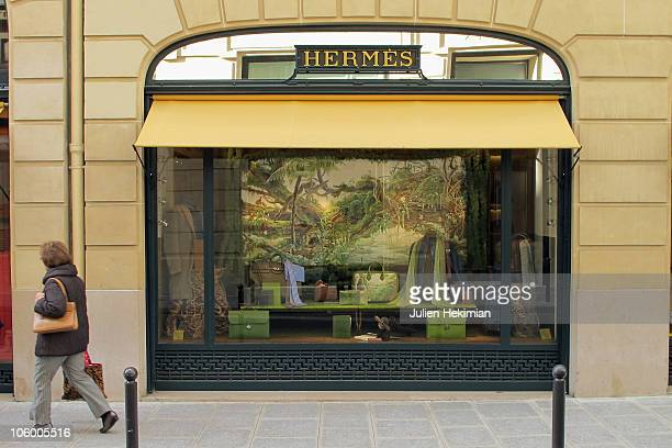 A general view of the Hermes store rue saint Honore on October 25 2010 in Paris France LVMH has acquired a 171 percent stake in fashion group Hermes...