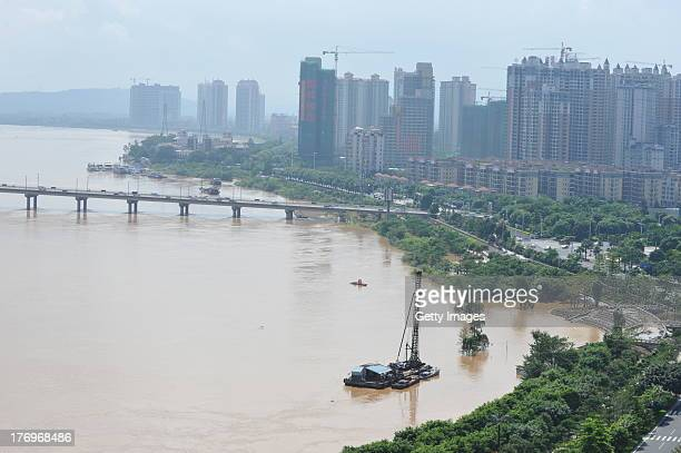 A general view of the high water level of the Beijiang River on August 19 2013 in Qingyuan China 20 people were killed and 7 others missing after...
