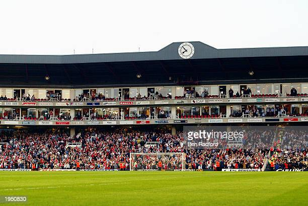 A general view of the Highbury Clock End during the FA Barclaycard Premiership match between Arsenal and Manchester United held on April 16 2003 at...