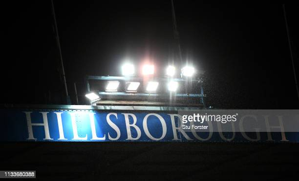 A general view of the Hillsbrough signage on the stadium during the Sky Bet Championship match between Sheffield Wednesday and Sheffield United at...