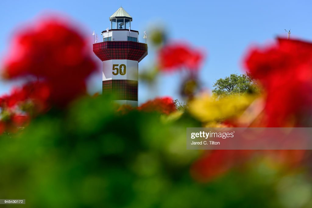 A general view of the Hilton Head lighthouse during the first round of the 2018 RBC Heritage at Harbour Town Golf Links on April 12, 2018 in Hilton Head Island, South Carolina.