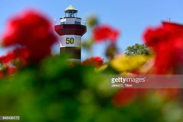 A general view of the Hilton Head lighthouse during the first round of the 2018 RBC Heritage at Harbour Town Golf Links on April 12 2018 in Hilton...