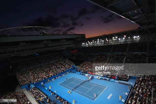A general view of the Hisense Arena as Fernando Verdasco of Spain play in his third round match against Kei Nishikori of Japan during day five of the...
