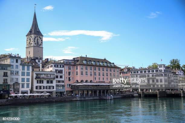 General view of the historic city centre with the St Peter's Church ahead the IRONMAN Switzerland on July 29 2017 in Zurich Switzerland