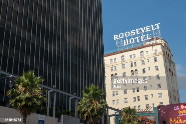 A general view of the historic Roosevelt Hotel on Hollywood Boulevard Los Angeles The hotel opened in 1927 and the first Academy Awards ceremony was...
