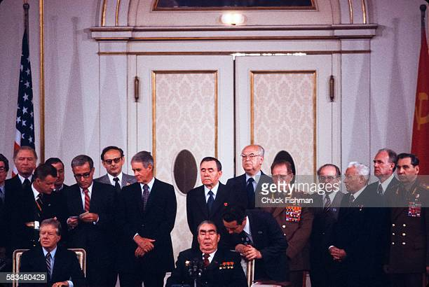 General view of the historic signing of the SALT II agreement with United States President Jimmy Carter and Russian Communist Party General Secretary...