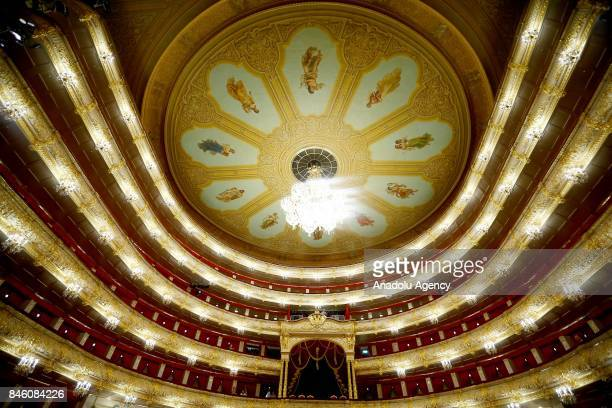 A general view of the historical interior of the Bolshoi Theater during the new theatre season in Moscow Russia on September 12 2017