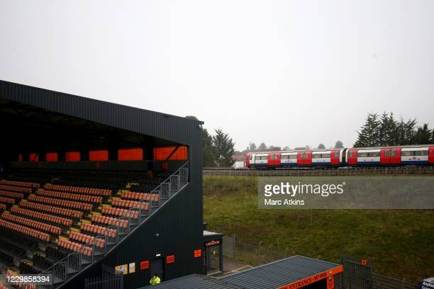 General view of The Hive Stadium as a tube train passes prior to the Emirates FA Cup Second Round match between Barnet FC and Milton Keynes Dons at...