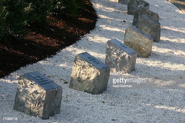 A general view of the Hokie Stone plaques that are part of the April 16 Memorial dedicated to vicitms of the April 16th shooting located on campus at...