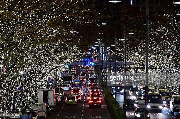 A general view of the holiday illumination display at Omotesando shopping street on December 1 2015 in Tokyo Japan