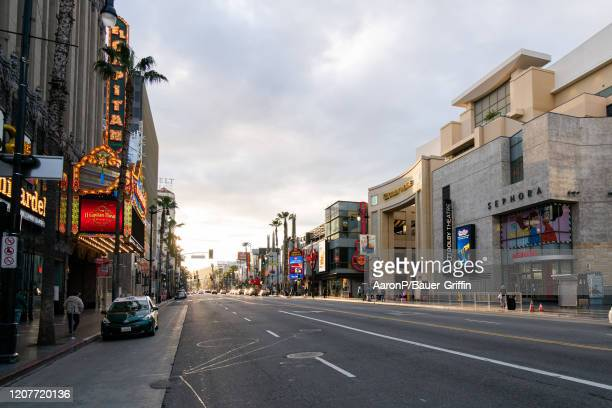 General view of the Hollywood Blvd during rush hour traffic after Los Angeles ordered the closure of all non-essential services and entertainment...
