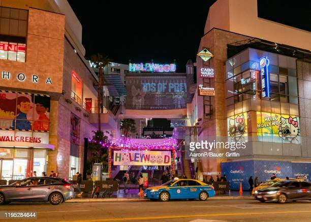 General view of the Hollywood Highland shopping center rebranded as 'Harleywood' in promotion of the new film 'Birds of Prey' showcasing the Batman...