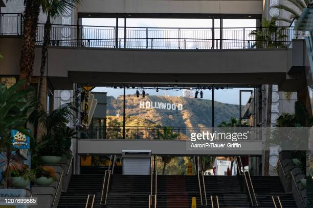 General view of the Hollywood Sign from the Hollywood & Highland shopping mall on Hollywood Blvd after Los Angeles ordered the closure of all...
