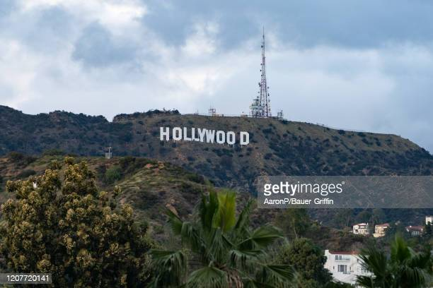 A general view of the Hollywood Sign from the Hollywood Highland shopping mall on Hollywood Blvd after Los Angeles ordered the closure of all...