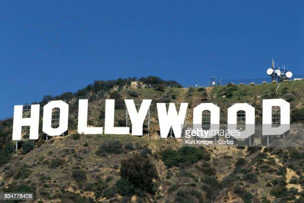Image has been digitally retouched A general view of the Hollywood sign on top of the Hollywood Hills in Los Angeles California photographed on March...