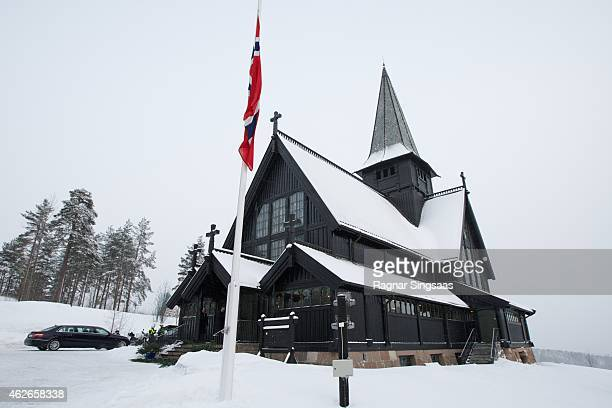 A general view of the Holmenkollen Chapel during the Funeral Service of Mr Johan Martin Ferner on February 2 2015 in Oslo Norway