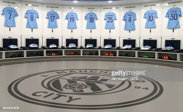 A general view of the home dressing room ahead of the UEFA Champions League quarter final second leg match between Manchester City and Liverpool at...
