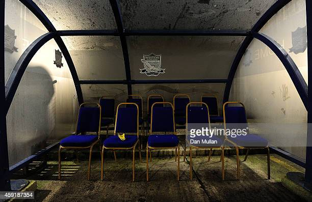 A general view of the home dugout ahead of the FA Cup First Round match between WestonSuperMare and Doncaster Rovers on November 18 2014 in...