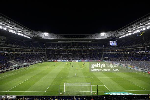 A general view of the home stadium of Gamba Osaka the Suita City Football Stadium during the JLeague match between Gamba Osaka and Kashiwa Reysol at...