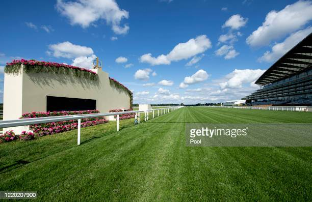 General view of the home straight and finishing post at Ascot Racecourse on June 14, 2020 in Ascot, England. As a result of the Coronavirus Pandemic,...
