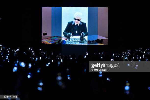 A general view of the hommage for Karl Lagerfeld after the Fendi Ready to Wear Fall/Winter 20192020 fashion show at Milan Fashion Week Autumn/Winter...