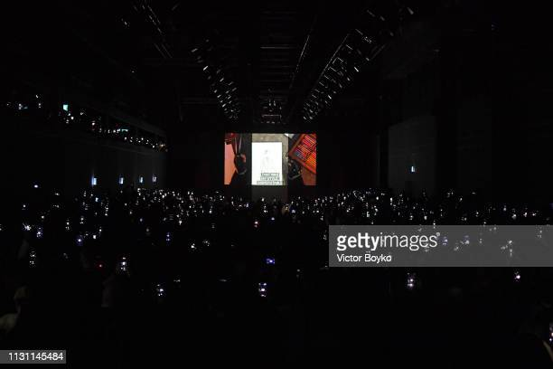 A general view of the hommage for Karl Lagerfeld after the Fendi show at Milan Fashion Week Autumn/Winter 2019/20 on February 21 2019 in Milan Italy
