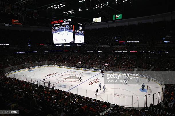 A general view of the Honda Center during a game between the Vancouver Canucks and the Anaheim Ducks on October 23 2016 in Anaheim California