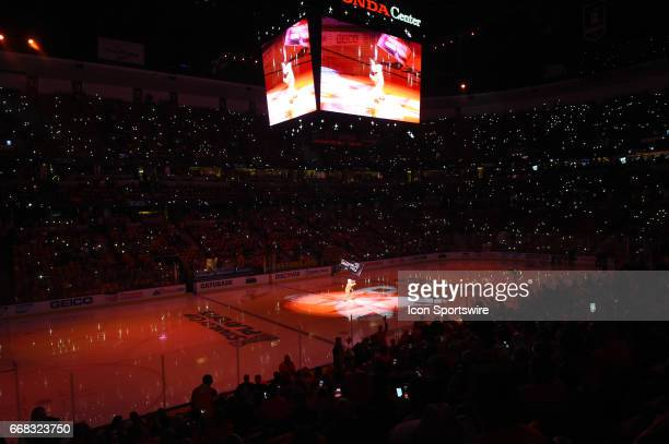 A general view of the Honda Center during pregame festivities as mascot Wild Wing takes the ice during game 1 of the first round of the 2017 NHL...