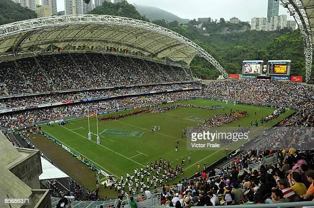 A general view of the Hong Kong Stadium during day three of the IRB Hong Kong Sevens at Hong Kong Stadium on March 29 2009 in Hong Kong