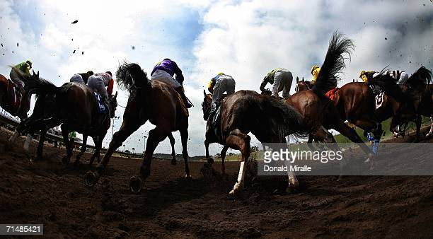A general view of the horses breaking at the gate during Opening Day at Del Mar 6 1/2 Furlongs TransUnion Title on July 19 2006 at Del Mar...