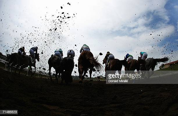 A general view of the horses breaking at the gate during Opening Day at Del Mar 5 1/2 Furlongs Southland Title Children's Foundation Race on July 19...