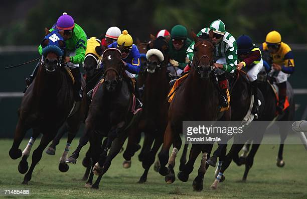 A general view of the horses racing into the final turn in the 61st running of the Oceanside Stakes 1 Mile Turf on July 19 2006 at Del Mar...
