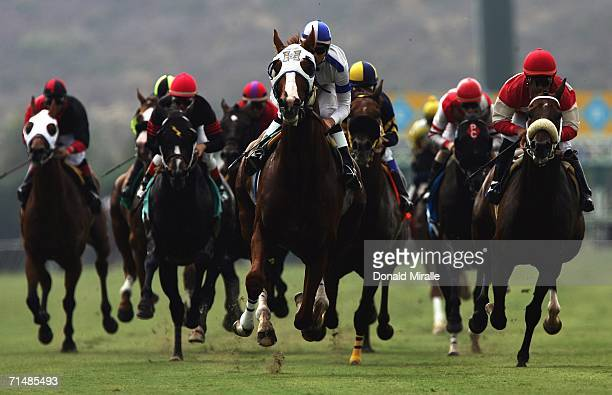 A general view of the horses racing on the front stretch in the 61st running of the Oceanside Stakes 1 Mile Turf1st Division on July 19 2006 at Del...