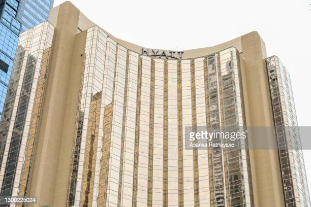 General view of the hotel rooms of the Grand Hyatt hotel on February 04, 2021 in Melbourne, Australia. Victoria has reintroduced COVID-19...