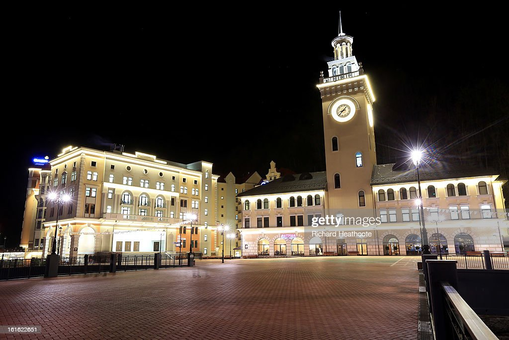 A general view of the Hotels and Resturants in the valley at the Rosa Khutor Alpine Ski Resort at night on February 13, 2013 in Sochi, Russia. Sochi is preparing for the 2014 Winter Olympics with test events across the venues.