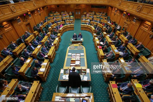 General view of the House during budget day 2021 at Parliament on May 20, 2021 in Wellington, New Zealand. Budget 2021 is the third budget handed...