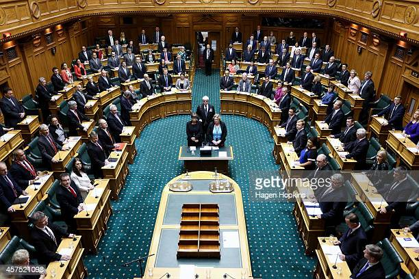 A general view of The House during the Commission Opening of Parliament at Parliament on October 20 2014 in Wellington New Zealand This is the first...