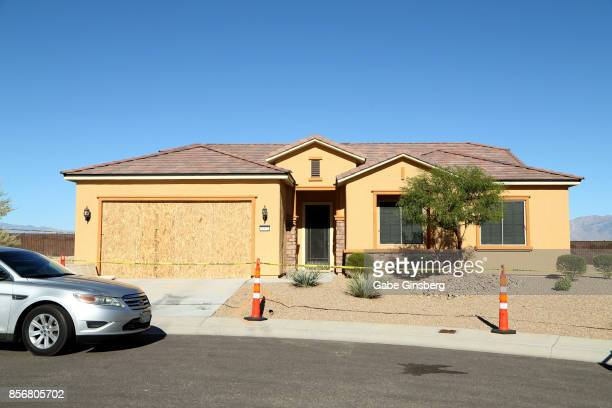 A general view of the house in the Sun City Mesquite community where suspected Las Vegas gunman Stephen Paddock lived October 2 2017 in Mesquite...