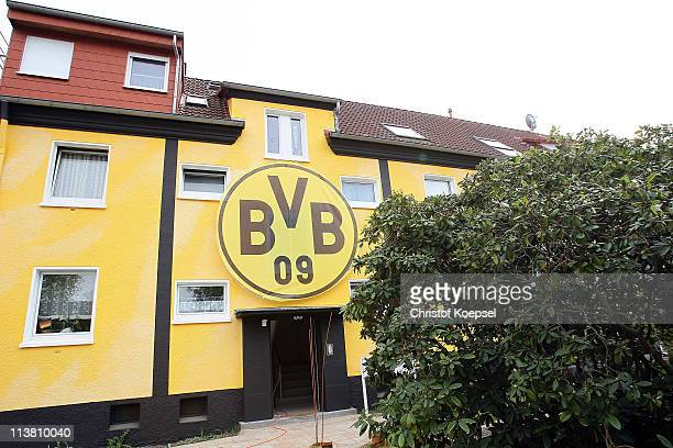 General view of the house of Borussia Dortmund gfgans with the official logo of Borussia Dortmund seen on May 06 2011 in Dortmund Germany The fans of...