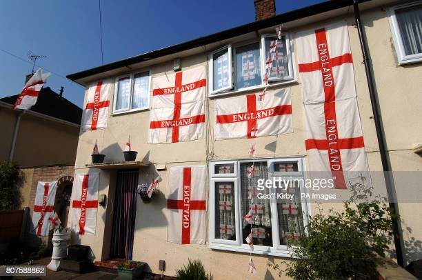 A general view of the house of Doreen Carnelley in Sturgeon Avenue Clifton Nottingham which has been decked out in 27 St George's Cross flags ahead...