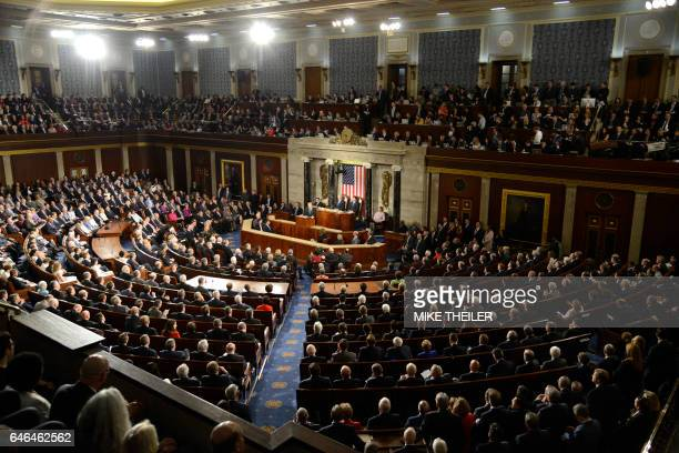 General view of the House of Representatives as US President Donald J Trump delivers his address to a joint session of Congress at the US Capitol in...