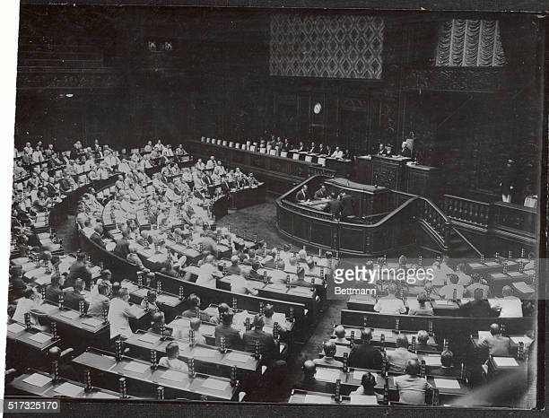 A general view of the House of Representatives during the 72 special session of the Japanese diet in Tokyo is shown here chief business was to vote...